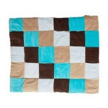 Boxkleed Textiel Colorful Checkers Aqua/Taupe